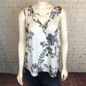 Maurice's Floral Tank Top S Cage Front White